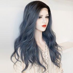 Ashy Blue Ombre Lace Front Wavy Wig   Stefani